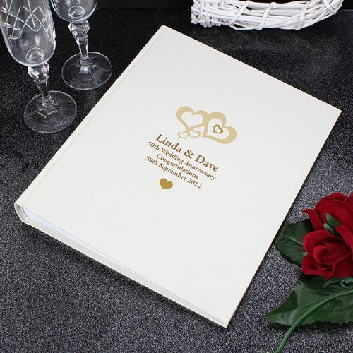 Personalised Love Hearts Gold Traditional Album